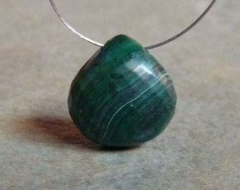 SALE - AAA -Green MALACHITE Faceted Heart Briolette Bead 11x11mm