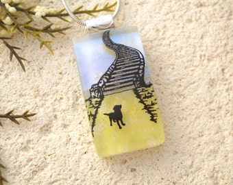 Petite Rainbow Bridge Necklace, Memorial Pet Necklace,  Dog  Jewelry,  Dichroic Jewelry, Fused Glass Jewelry, Silver Necklace, 021416p111