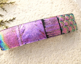 Medium Barrette, OOAK, Pink Dichroic Barrette, Hair Barrette, French Barrette. Fused Glass Barrette, Pink Hair Clip,031616ba107