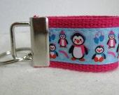 Penguins Key Fob - Mini Penguin Key Chain - Penguin Zipper Pull - Small Keychain - Penguins Winter - PINK