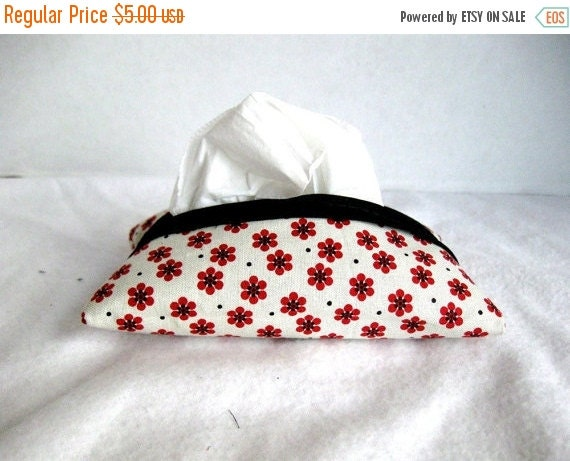 40% Off Floral Tissue Cozy - Red Black Tissue Holder - Pocket Tissue Cover- Tiny Red Flowers