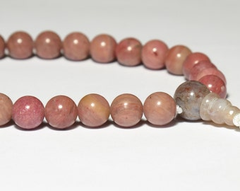 Rhodonite Wrist Mala 8mm 27 Beads, Tibetan Buddhist Juzu Beads, Heart Chakra, 4th Chakra, Prayer Beads, Yoga Bracelet, Pink, Mala Bracelet