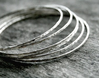 Thin Silver Bangles - Hammered Thin Sterling Silver Stacking Bangles - Hammered Bangle Bracelets - Silver Bangle Set - Simple Bracelet