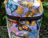 Custom order for Mariposa Cafe Butterfly Knitting project bag, Butterflies on Blue, Kipster