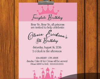 Fairytale Birthday Invitation / Young girl / Digital Download / Birthday Party / pink / princess / princess invitation / Digital File