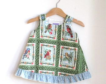 Birdwatcher Baby Girls Dress | Size 3 - 6 Months | Birds in Little Frames Against A Leafy Green Background with Blue Heart Ruffled Trim