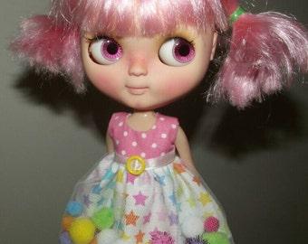 PREORDER Pastel Rainbow Star pom-pom Dress for Blythe and Pullip
