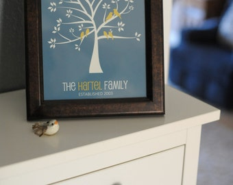 Family Tree Print - Personalized Grandparents Gift, Parents Anniversary Gift, Wedding Tree Sign - Many Sizes, Colors