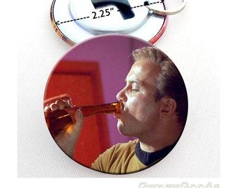"""2.25"""" Captain James T. Kirk & Mr. Spock 2.25 Inch Mylar Covered Pin Back Buttons, Bottle Opener split metal Key Ring Star Trek TV Series TOS"""