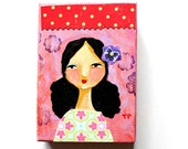 ORIGINAL acrylic painting Happy New Year Girl hot pink fresh art for 2016 mixed media collage portrait painting ACEO mini art by Tascha