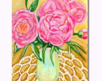 PEONIES floral painting still life study Original acrylic painting of peony flowers by Tascha Parkinson