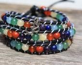 Black Leather Chakra Wrap Bracelet with Ohm Charm