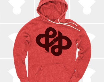 Ampersand Typography Shirt, & Ampersand Infinity Hoodie, Typography Pullover Sweatshirt, Swiss, Graphic Design, Hipster, Gift for Men, Red