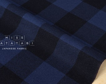 Japanese Fabric Buffalo check flannel - blue - 50cm