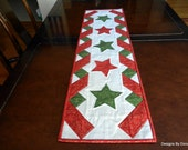 Quilted Table Runner, Christmas, Red and Green 5 Star Center Panel and Red and Green Twisted Ribbon Side Boarders, Handmade Table Linens