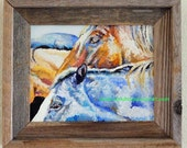 """Original Horse Friends Oil Painting 8""""x10"""" in a barnwood frame"""