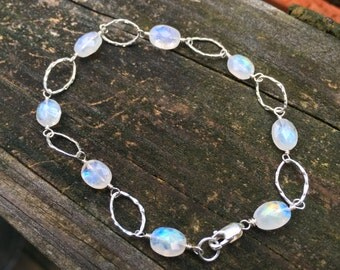 Rainbow Moonstone Sterling Silver Bracelet, Genuine Gemstone, Wire Wrap, Blue Fire, 7 1/2 inch, Hammered Silver Ovals