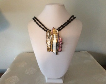 Black, Pink, Gold, White Mokume Gane Necklace