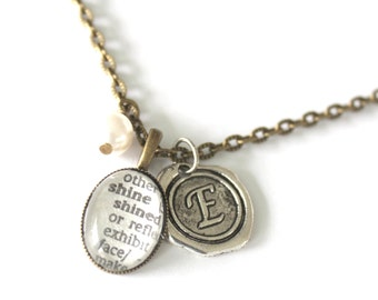 Necklace with Personalized Word - Brass and Silver - dictionary word and wax seal necklace  - Oval pendant  silver initial charm