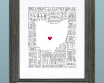 Ohio State University Word Art Map 8x10 Inch Printable