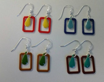 Sterling silver earrings,  marquis colourful drops