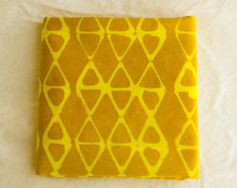 Kayak Hand Dyed and Patterned Cotton Fabric/Yellow and Amber