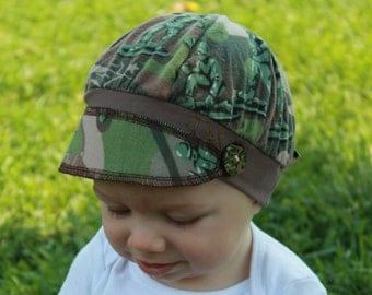 Toddler Jax Hat, boy hat, camo hat, toy soldiers hat, green camo hat, recycled t shirt hat, upcycled hat, baby hat, camoflage, eco friendly