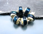 Handmade Lampwork Nugget Beads by GlassBeadArt … Midnight Blue Sparkling Rocks ... SRA F12 ... 10x12mm