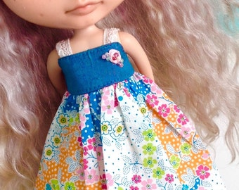 Sundress for Blythe - Floral Lawn - Turquose