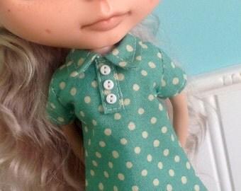 Blythe Dress - The Twiggy in Dotty Green