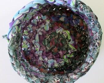 Cloth Basket - Fabric Basket - Boho Decor - Yarn Bowl - Hippie Basket - Handmade Basket - Recycled Fabric Bowl - Colorful Basket - Blurple