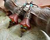 Desert Fae, Elven Wand Earrings, Southwest Colors, Faery Couture, Fairy Flower Earrings, Colorful Boho Chic,