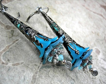 Icy Aqua Elven Wand Earrings, Faery Couture, Elvish Silver, Flower Wands, Fairy Flowers, Colorful Boho Chic, Elksong Jewelry
