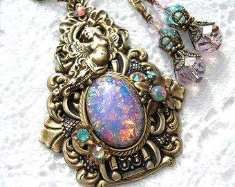 Blithe Spirit - Pink Glass Opal Brass Goddess Necklace Earring Set Victorian Style Jewelry