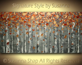 Birch Trees ORIGINAL Painting Large Abstract Painting Landscape Painting Copper Orange Gray Painting Modern Palette Knife Original Art