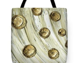Designer Art Tote Bag - abstract cream white gold circles, unique designer fashion statement tote from Susanna's art