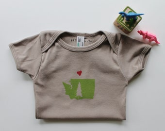 With Love From Washington State-Organic cotton-short sleeve block printed onesie