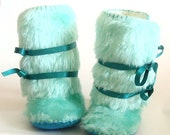 20 % off Fall Sale Baby Boots Toddler Boots Fur Baby Boots Ugg Boots Girl Shoes Mint Faux Fur Baby Boots Baby Mukluks Winter Baby Shoes Shee