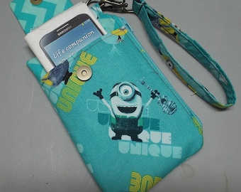 Women's Wristlet Wallet or Small Bag Minions fabric