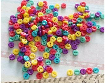 Mini Tiny Flat Button Round Shape - 100 pcs - Assorted Berry Color - 5 mm