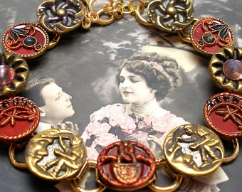 """Man in the MOON, Antique BUTTON bracelet, Victorian stars & flowers in red and blue. 8"""" jewellery."""