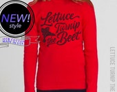 SALE lettuce turnip the beet ® - cotton long sleeve shirt - brigh red - unisex youth sizes