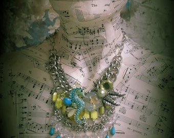 Chunky chains and bright colors ~ Ocean Lover ~ Seahorse with a bit of Vintage style ~ Assemblage Mermaid necklace