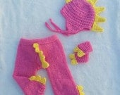 RESERVED Dragon Costume in Bright Pink - Dragon Hat, arm bands, drawstring trousers