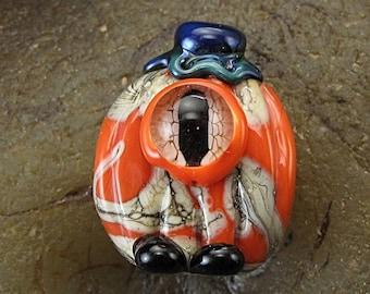 ON SALE Handmade Lampwork Glass Alien Pumpkin Focal Bead by Jason Powers SRA