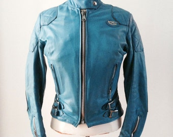 Womens Aviakit Leather Jacket Lewis Leathers Blue Cafe Racer Biker 34 Vintage
