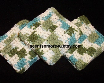 Crochet Dishcloths/Washcloths, Green, Ivory, and Blue Blend
