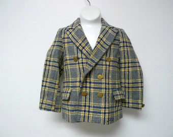 """Elegant Heir . litte boys' double breasted wool jacket . bust 24"""" . fits like 4 to 6 years old"""