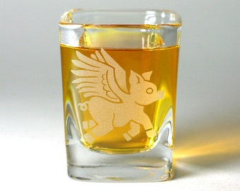 Flying Pig Shot Glass - when pigs fly