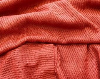 20% Off! Designer Closeout FABRIC - Maggy London - Small Rib Sweater Knit - Rust Orange